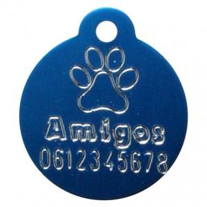 Gegraveerde hondenpenning rond met oog blauw Amigos animals Animalwebshop Hondenpenning.net HETDIER.nl