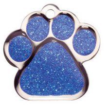 Naam graveren Pootje blauw groot Bowwow meow hondenpenning van Hondenpenning.net HETDIER.nl en Amigos Animals Animalwebshop